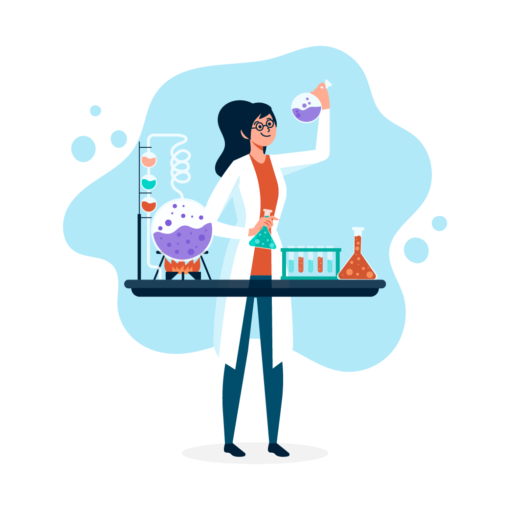 איור של אישה במעבדה עם רקע כחול עושה ניסויים