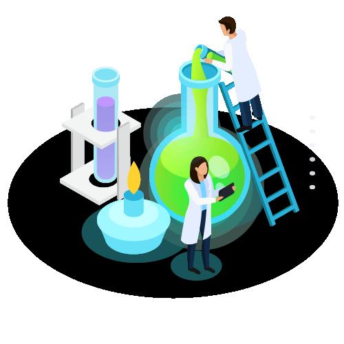 איור של אנשים עם חלוקים עובדים במעבדה כאשר המעבדה היא ענקית ומחבנות ענקיות בצבעים ירות וסגול