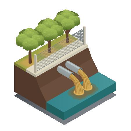 איור- תך של אדמה עם עצים ומלמטה צינורות של מי שפכים נשפחים