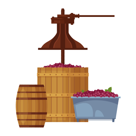 איור של חבית יין עם ענבים וגיגית ברזל מלאה בענבים