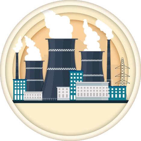 איור של מפעלים שיוצא להם עשן בצבע שחור בתוך עיגולים צהובים ועמודי חשמל